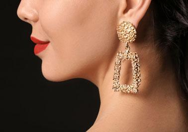 A Trapezoid-shaped Gemstone Earring